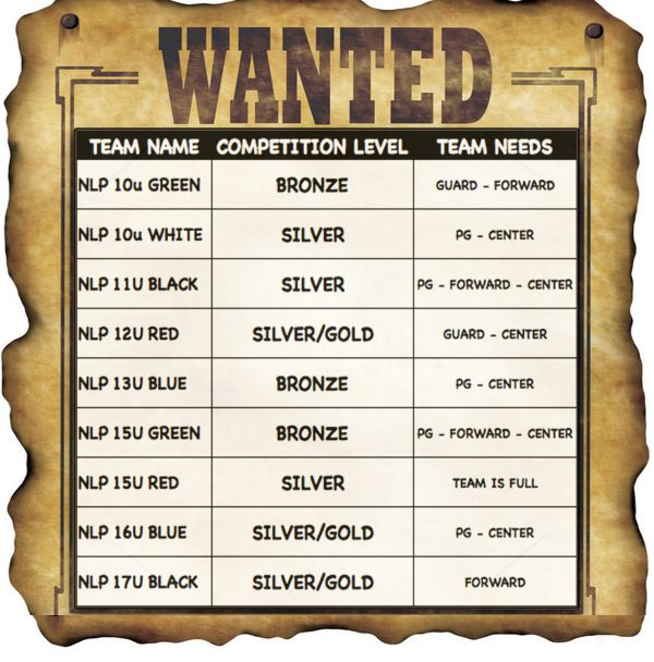 WANTED TEAM NEEDS 2